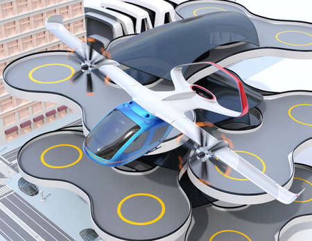 E-VTOL passenger aircraft taking off from an urban airport. Urban Passenger Mobility concept. 3D rendering image. Stock Photo