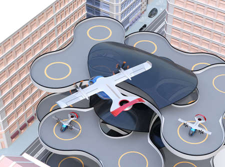 E-VTOL passenger aircraft closing to airport prepare to landing. Urban Passenger Mobility concept. 3D rendering image.