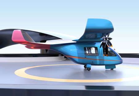 Blue E-VTOL passenger aircraft on airport parking area.Urban Passenger Mobility concept. 3D rendering image.