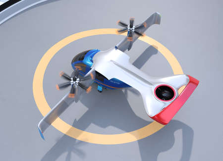 E-VTOL passenger aircraft taking off from airport. Urban Passenger Mobility concept. 3D rendering image.