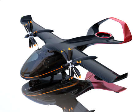 E-VTOL passenger aircraft with mirror reflection on the ground. Solar panel mounted on the wings. Urban Passenger Mobility concept. 3D rendering image. 写真素材
