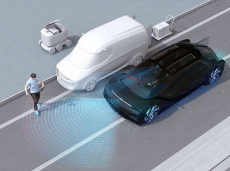 Black car emergency braking to avoid car accident with pedestrian who using smartphone. Automatic Emergency Braking (Emergency brake system) concept. 3D rendering image. 写真素材
