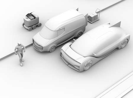 Clay rendering of car emergency braking to avoid accident with pedestrian who using smartphone. Automatic Emergency Braking (Emergency brake system) concept. 3D rendering image. 写真素材