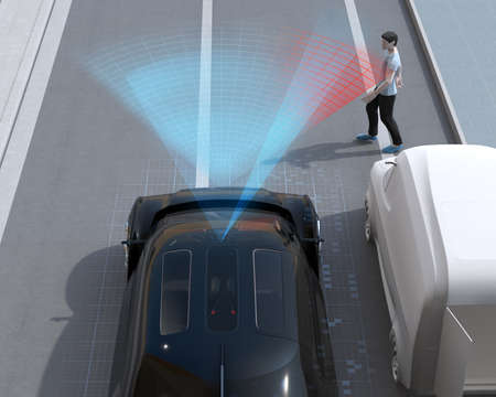 Black car emergency braking to avoid car accident with pedestrian walking out from vehicle blind spot. Automatic Emergency Braking (Emergency brake system) concept. 3D rendering image.
