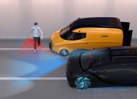 Black car emergency braking to avoid car accident when pedestrian walked out from blind spot of van. Automatic Emergency Braking (Emergency brake system) concept. 3D rendering image.