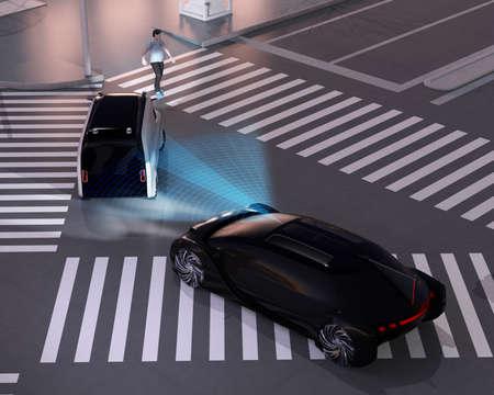 Black car emergency braking to avoid car accident from minivan waiting pedestrian walking cross. Night scene. Automatic Emergency Braking (Emergency brake system) concept. 3D rendering image.