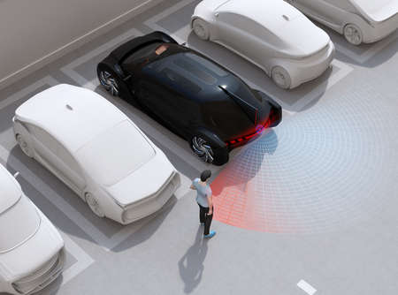 Head-in parking black car emergency stopped when the rear sensor detected pedestrian near the car. Advanced driver assistance system concept. 3D rendering image. 写真素材