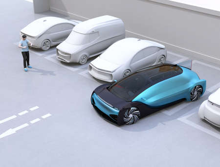 Man using smartphone to remote control car parking. Self parking system concept. 3D rendering image.