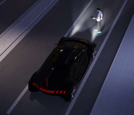 Black car emergency braking avoid car accident from pedestrian walking cross road at darkness. Automatic Emergency Braking (Emergency brake system) concept. 3D rendering image.