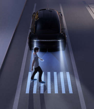 Autonomous car communicating with pedestrian at crosswalk sign by light projection at ground. 3D rendering image.