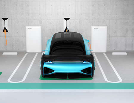 Front view of metallic blue electric cars charging in charging station locate in underground  parking lot. 3D rendering image. Stock Photo