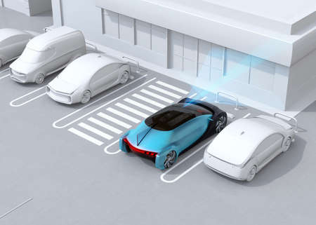 Head-in parking car emergency stopped while the driver used wrong gear.  Advanced driver assistance system concept. 3D rendering image.