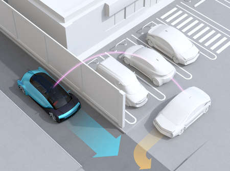 Blue sedan detected a car leaving parking lot to avoid an car accident. Connected car concept. 3D rendering image. 写真素材