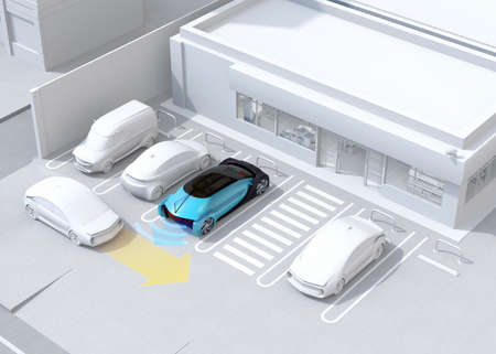 Head-in parking black car emergency stopped when the rear sensor detected a car closing. Advanced driver assistance system concept. 3D rendering image.