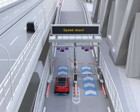 Red SUV passing through toll gate without stop by ETC (Electronic Toll Collection System). 3D rendering image.