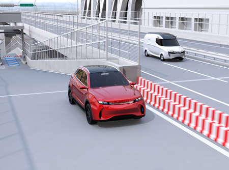 Red SUV entered highway toll gate  and driving into main lane. 3D rendering image. 写真素材