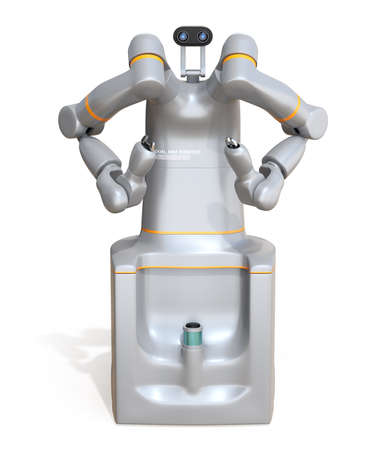 Front view of self-driving dual-arm robot isolated on white background. Collaborative robot concept. Original design. 3D rendering image.