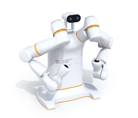 White dual-arm robot isolated on white background. Collaborative robot concept. 3D rendering image. Stok Fotoğraf