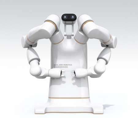Front view of white dual-arm robot isolated on gradient background. Collaborative robot concept. 3D rendering image.