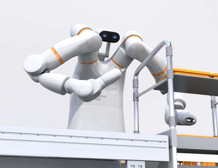 Close-up view of dual-arm robot assembly motor coils in cell-production space. Collaborative robot concept. 3D rendering image.