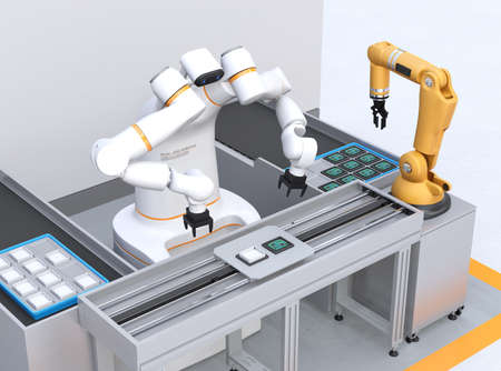 Dual-arm robot assembly printed circuit boards in cell-production space. Collaborative robot concept. 3D rendering image. Stok Fotoğraf
