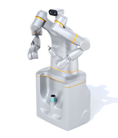 Silver color self-driving dual-arm robot isolated on white background. collaborative robot concept. Original design. 3D rendering image.