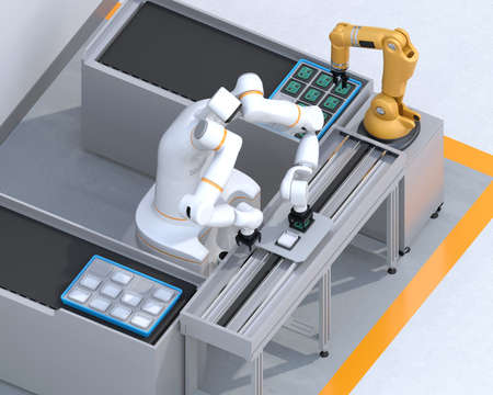Isometric view of dual-arm robot assembly printed circuit boards in cell-production space. Collaborative robot concept. 3D rendering image.