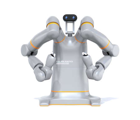 Front view of silver dual-arm robot isolated on white background. Collaborative robot concept. Original design. 3D rendering image.