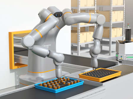 Dual-arm robot assembly motor coils in cell-production space. Collaborative robot concept. 3D rendering image.