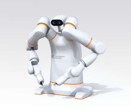 White dual-arm robot on gradient background. Collaborative robot concept. 3D rendering image.