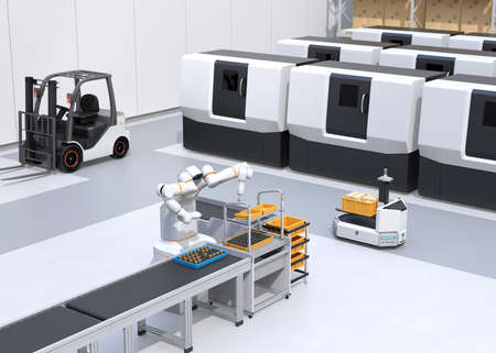 Dual-arm robot assembly motor coils in cell-production space. AGV, forklift and CNC machines at background. Smart factory concept. 3D rendering image. 写真素材