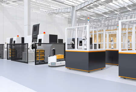 AGV passing robot cell-production units and CNC machines. Smart factory concept. 3D rendering image.