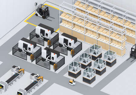 Dual-arm robot assembly motor coils in cell-production space. AGV, CNC machines at background. Smart factory concept in isometric view. 3D rendering image.