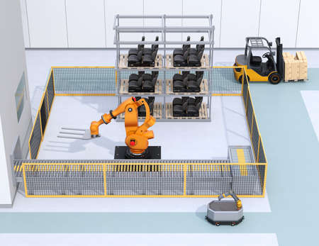 Mobile robot passing heavy payload robot cell in factory. 3D rendering image.