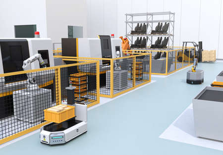Mobile robot, heavy payload robot cell, forklift and CNC machines in smart factory. 3D rendering image.
