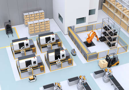 Mobile robots, dual-arm robots, heavy payload robot cell and CNC machines in smart factory. 3D rendering image.