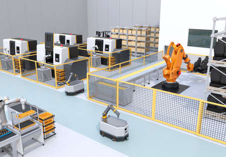 Mobile robots, dual-arm robot, heavy payload robot cell and CNC machines in smart factory. 3D rendering image. 写真素材