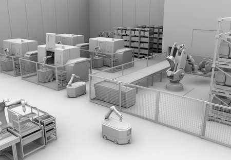 Clay rendering of mobile robots, heavy payload robot cell and CNC machines in smart factory. 3D rendering image.