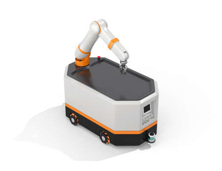 Mobile robot AGV isolated on white background. 3D rendering image.