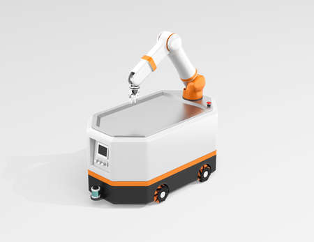 Mobile robot AGV isolated on gray background. 3D rendering image.