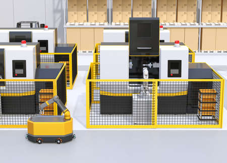 Mobile robot passing CNC robot cells in factory. Smart factory concept. 3D rendering image.