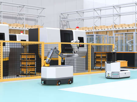 Mobile robots passing CNC robot cells in factory. Smart factory concept. 3D rendering image.