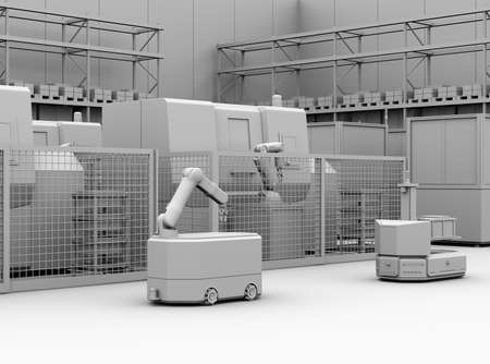 Clay rendering of mobile robots and CNC machines equipped with robots in smart factory. 3D rendering image. Stock Photo