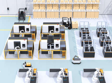 Mobile robots, dual-arm robots, assembly robot cells and CNC machines in smart factory. 3D rendering image.