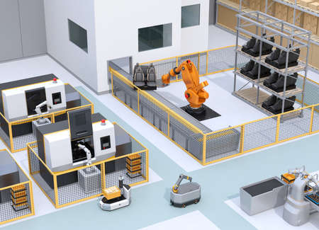 Mobile robots, heavy payload robot cell and CNC machines in smart factory. 3D rendering image. 写真素材