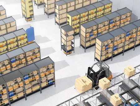 Autonomous Mobile Robots delivering shelves in distribution center. Intelligent logistics center concept. 3D rendering image. 写真素材