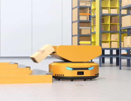 AMR (Autonomous Mobile Robot) sending parcel to delivery tunnel. Warehouse automation concept. 3D rendering image. Banco de Imagens