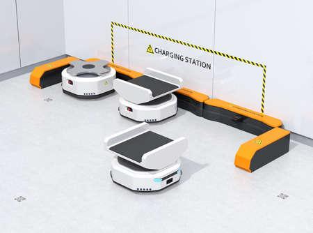 Autonomous Mobile Robots charging in modern warehouse. Warehouse automation concept. 3D rendering image.