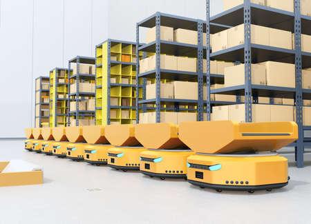 Line of  Autonomous Mobile Robots in modern warehouse. 3D rendering image. Banco de Imagens