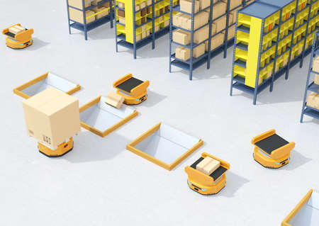 Autonomous Mobile Robots dropping parcel to delivery tunnel. Warehouse automation concept. 3D rendering image.